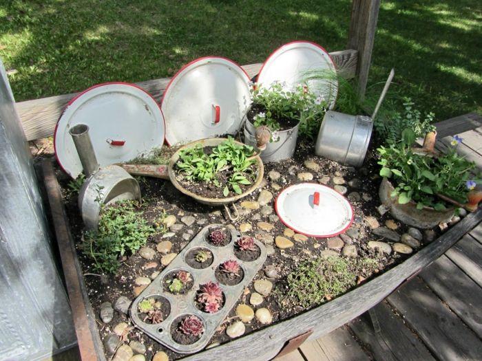 deko ideen selbermachen garten pflanzen geschirr