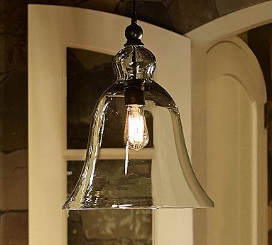 I think I pinned this before, That means i just need to buy it. Rustic Glass Pendant - Large #potterybarn