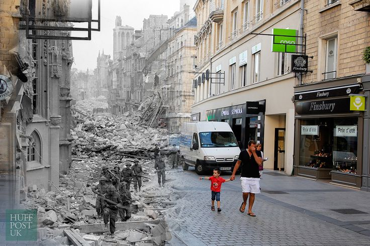 D-Day Landing Sites Then And Now: 11 Striking Images That Bring The Past And Present Together - Where Canadian troops once patrolled in 1944 after German forces were dislodged from Caen, shoppers now walk along the rebuilt Rue Saint-Pierre in Caen, which was destroyed following the D-Day landings.