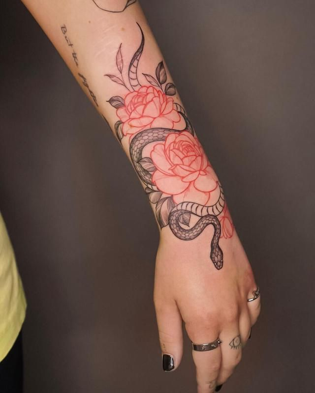 Forearm Tattoos In 2020 Hand Tattoos For Women Red Tattoos Arm Tattoos For Women