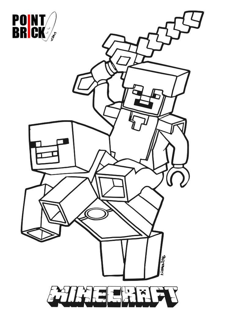 Disegni Da Colorare Lego Minecraft Steve Riding Piggy