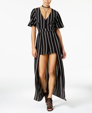 Crystal Doll Juniors' Striped Romper with Maxi Overlay Skirt - Black 15