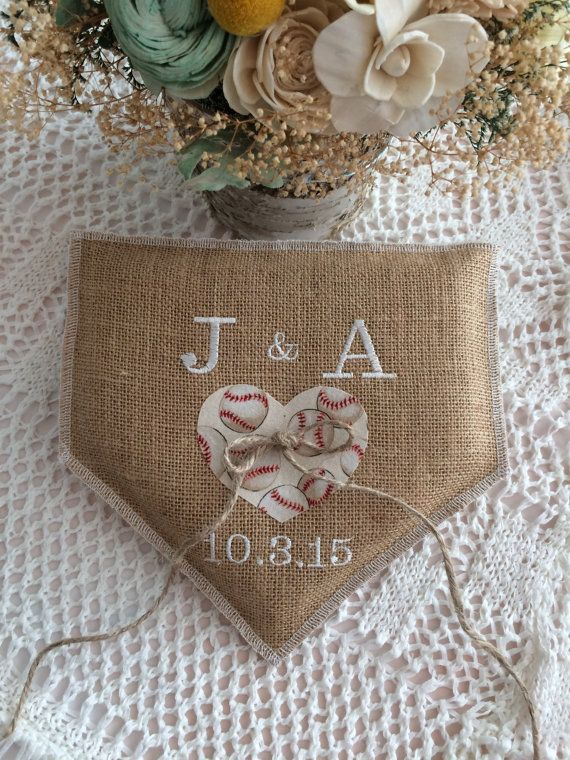 Baseball wedding Wedding Ring Pillow Natural by BlessedinLove