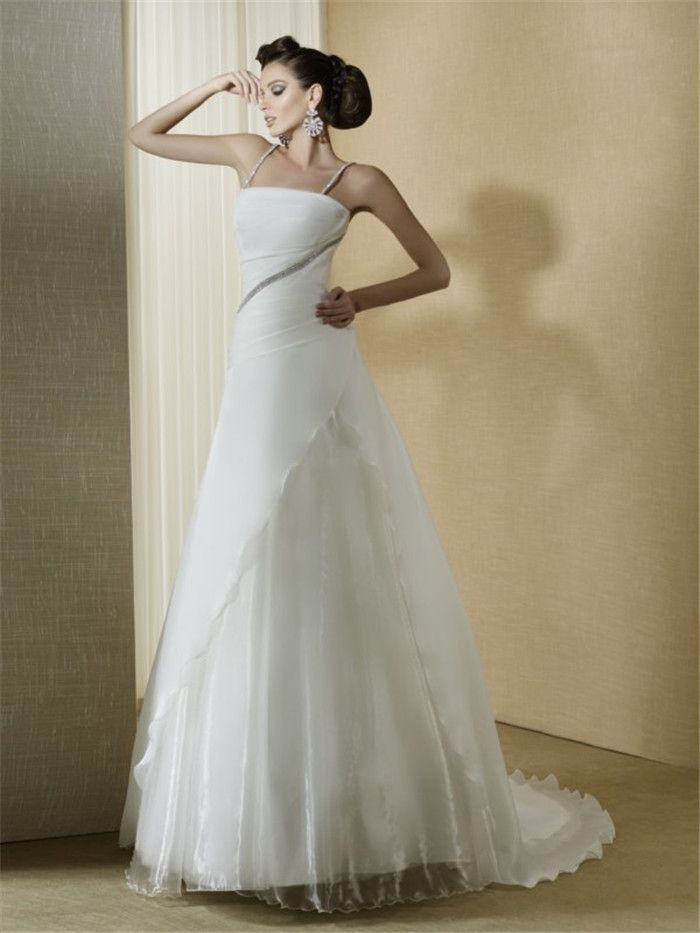 AFN white strapless wedding dresses