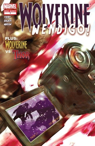 Wolverine – Wendigo! n°1 (2010) // A camera crew torn limb from limb attempting to shoot footage of a mythical beast in the deepest forests of Canada. Two survivors spouting wildly diverging stories about a ferocious, white-furred monster and the mysterious stranger that came to their rescue. #wolverine #wendigo #marvel #comics