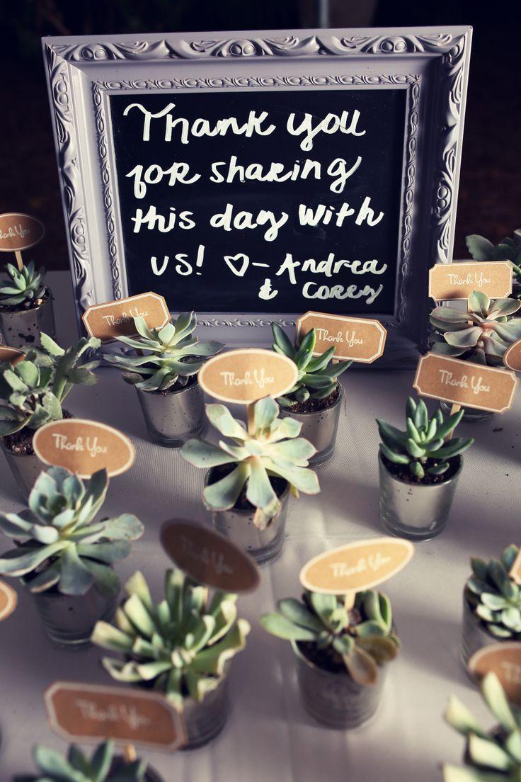 Succulents in mercury glass wedding favors
