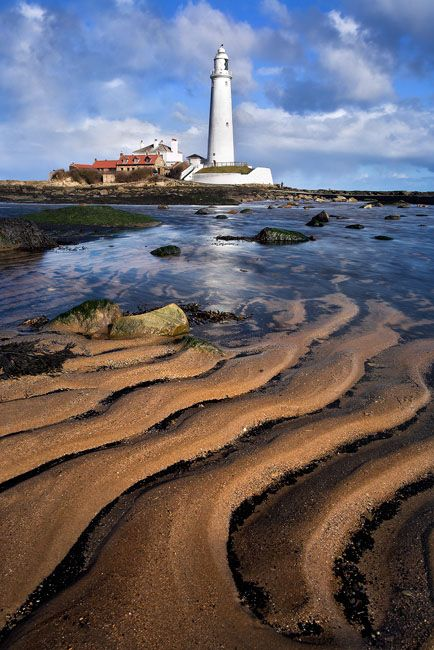 Sand patterns at low tide on the beach at St. Marys Lighthouse, Northumberland, England