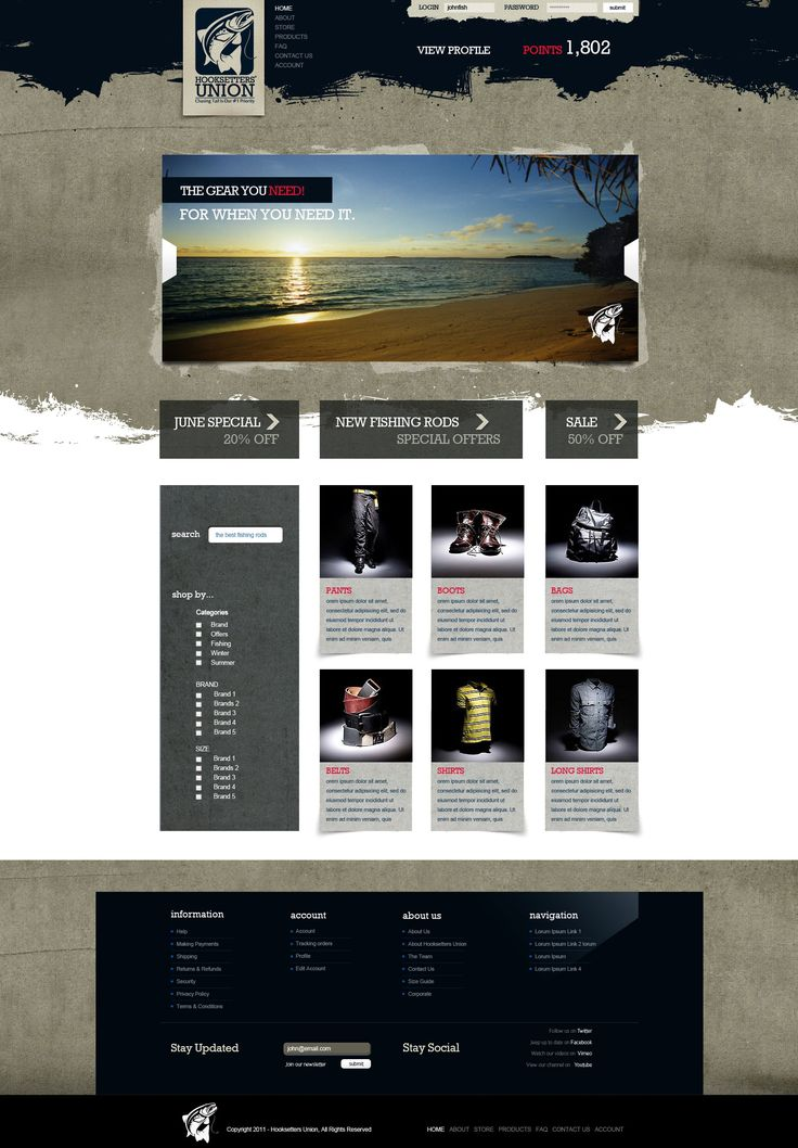 Hooksetters Union web design by Andrew Evans
