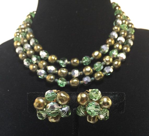 Vintage Austrian Crystal Earring and Triple Strand Necklace Set Green, Brown, Silver Triple Stand with Clip On Statement Earrings