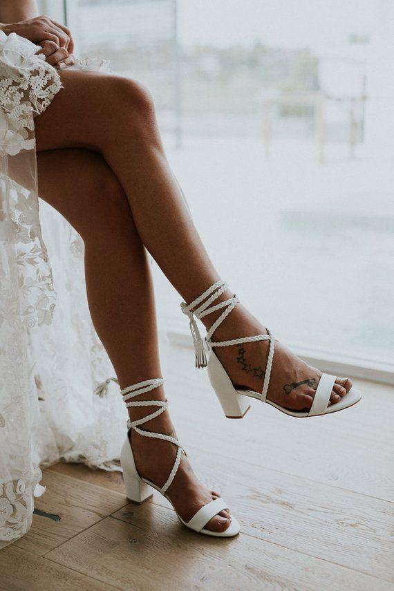 Ladies Low Heel Wedding Shoes Plaited Leather Plaited Ties