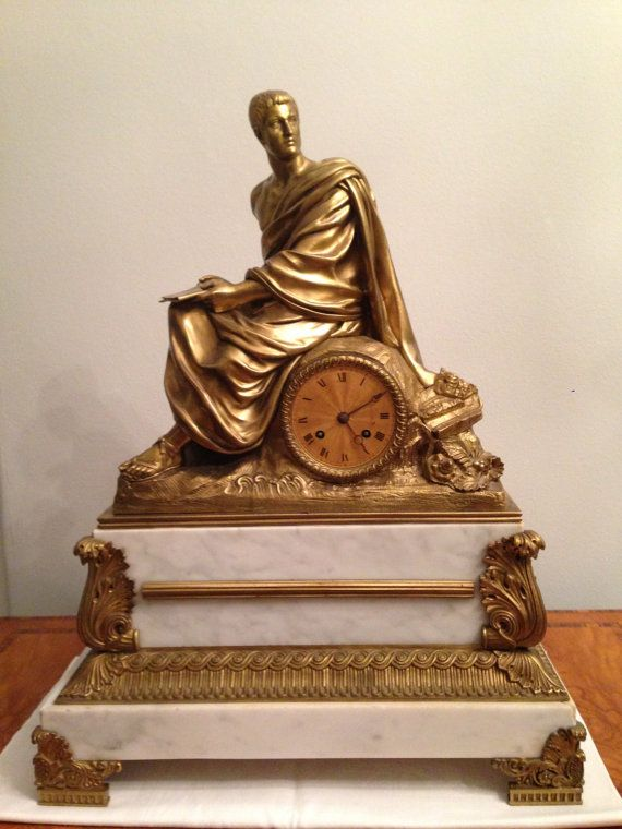 Antique Bronze figural Clock French Mantle by TheNeroAntiquesShop