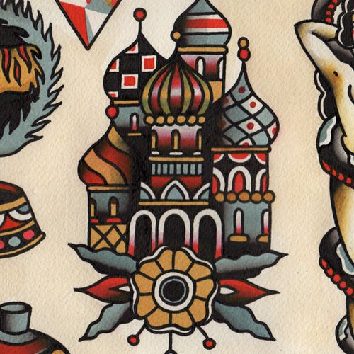 Russian orthodox cathedral tattoo flash ink pinterest for Russian style tattoo