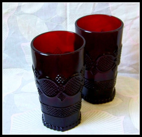 Beautiful Vintage drinking Glassware. Avon Cape Cod Collection. Ruby red glass. Classic Gothic style.