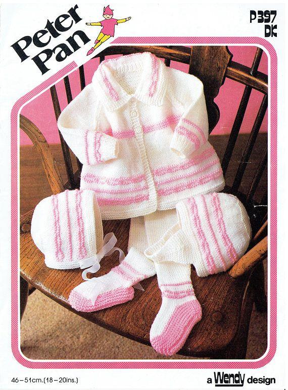 PDF Baby Knitting Pattern Pram Set Matinee Bonnet Pull Ups