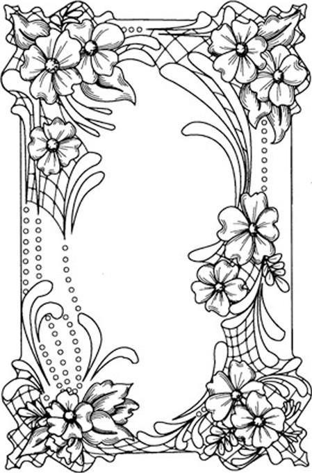 Sue Wilson Designs Flower Frame Coloring pages colouring adult detailed advanced printable Kleuren voor volwassenen: