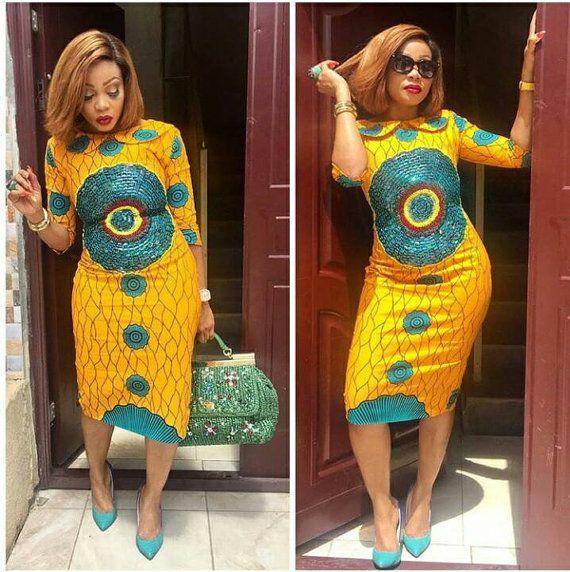Robe Midi Sequine || Midi robes, robes imprimés africains, africains robes, robes partis africains, Ankara robes, robe imprimé africain