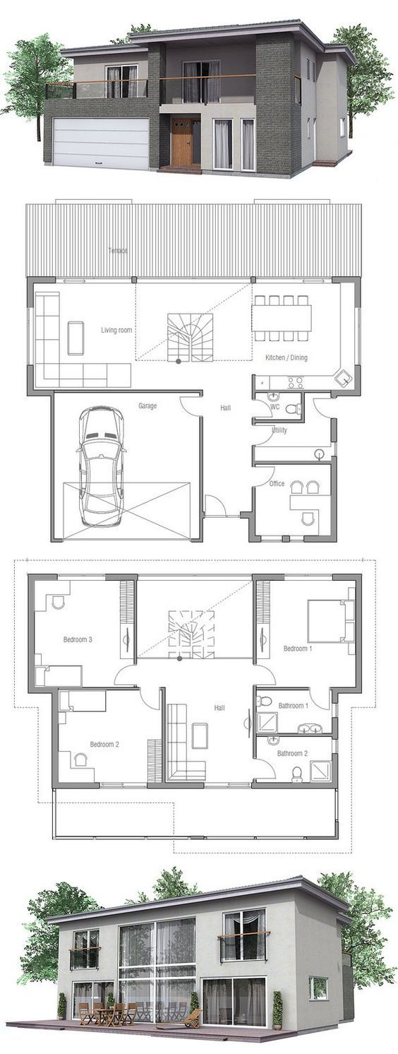 Modern House with three bedrooms and double garage. Floor Plan from ConceptHome.com: