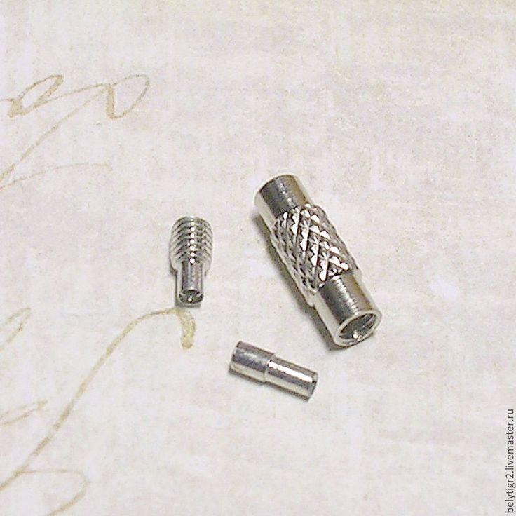 Купить замок для тросика винтовой, под 1 мм, медь, цвет серебро, 1 комплект