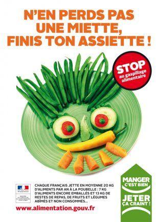 """""""Manger c'est bien, jeter ça craint!"""": une campagne du gouvernement français pour éviter le gaspillage alimentaire."""