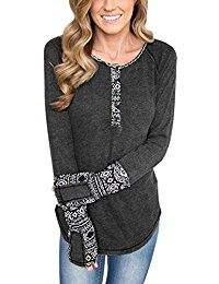 New BLENCOT Women's Long Sleeve Floral Printed Casual Flare Henley Shirts Tunics Tops online. Find the perfect MEROKEETY Tops-Tees from top store. Sku WPSI37855FRYY88934