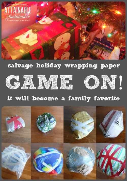 Instead of saran wrap (all that plastic!) recycle your holiday wrapping paper and packaging to make this game. It's destined to become a family tradition.