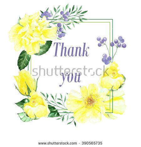 watercolor yellow roses frame. Greeting card, invitation
