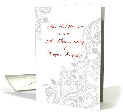 Nun 25th Anniversary of Religious Profession Swirls card