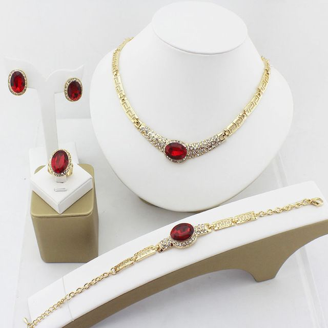 Accessori gioielli da da donna della sposa cristallo cz perline africane partito placcato oro collana orecchini abito sposa
