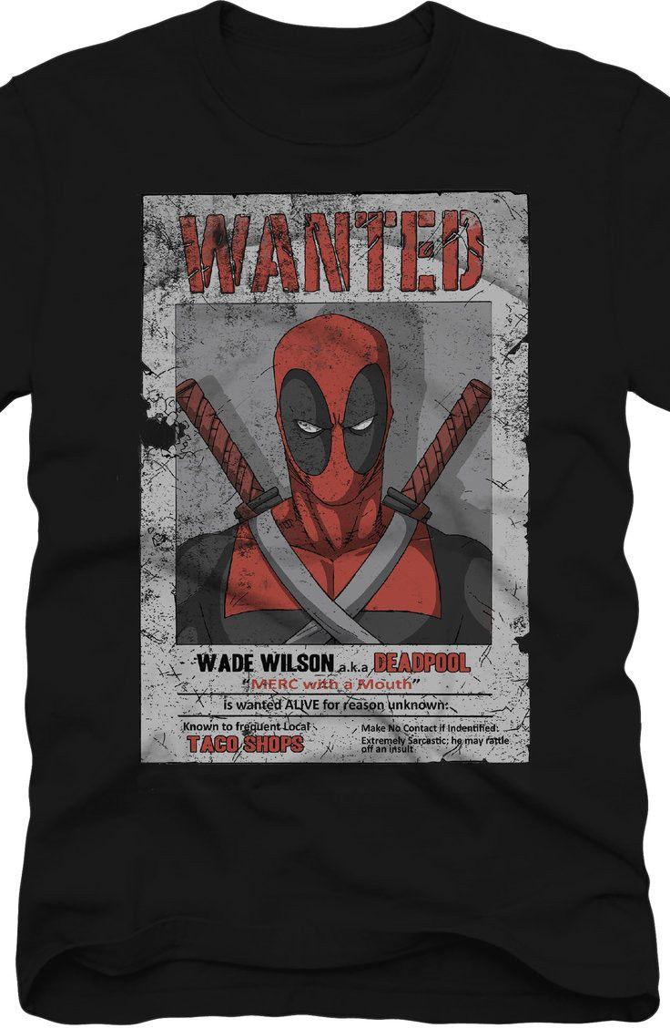 Wanted Deadpool T-Shirt: Marvel Comics Deadpool Mens T-Shirt
