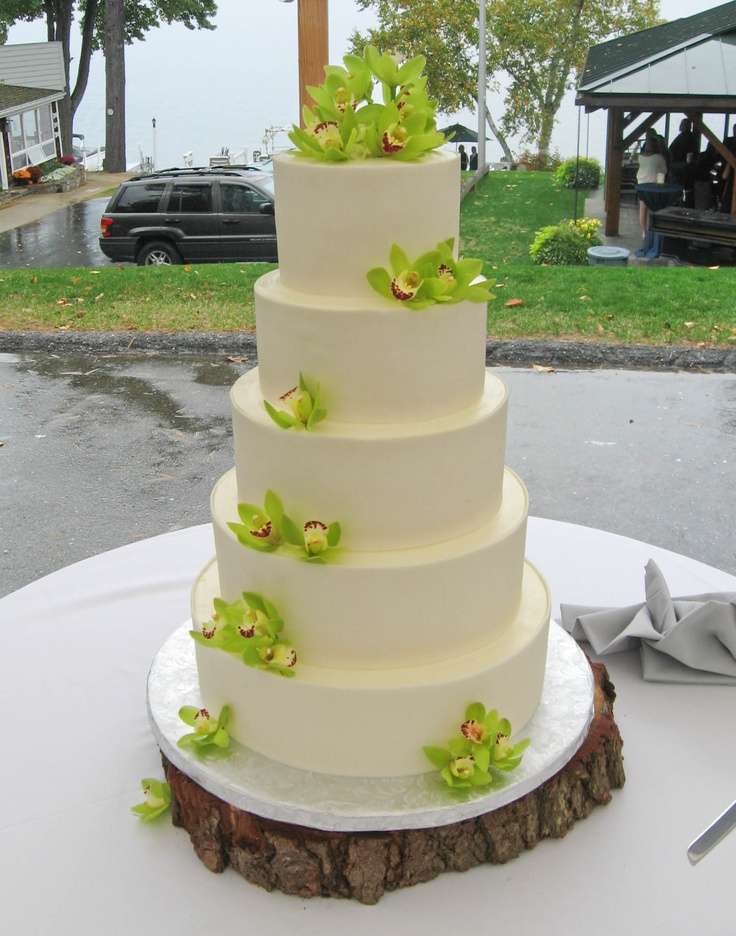 Stunning Five Tier Wedding Cake With Green Cymbidium