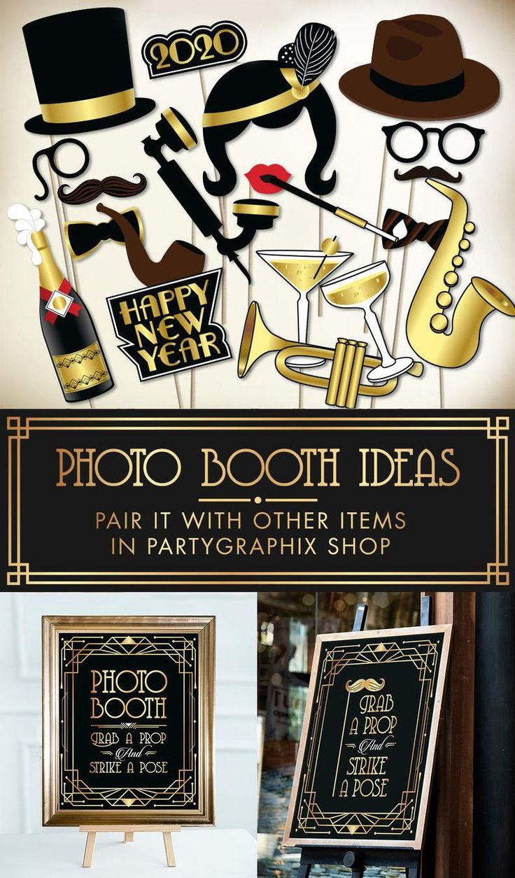 New Years Eve photo booth props PRINTABLE PDF, Great