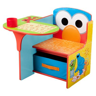 Features:  -Pull out fabric storage bin fits perfectly under the seat for extra storage.  -Drop down cup holder provides space to store pens and pencils or a drink.  -Delectable design theme.  -Perfec