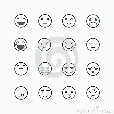 Emoji avatar collection set, emoticons isolated icons flat line