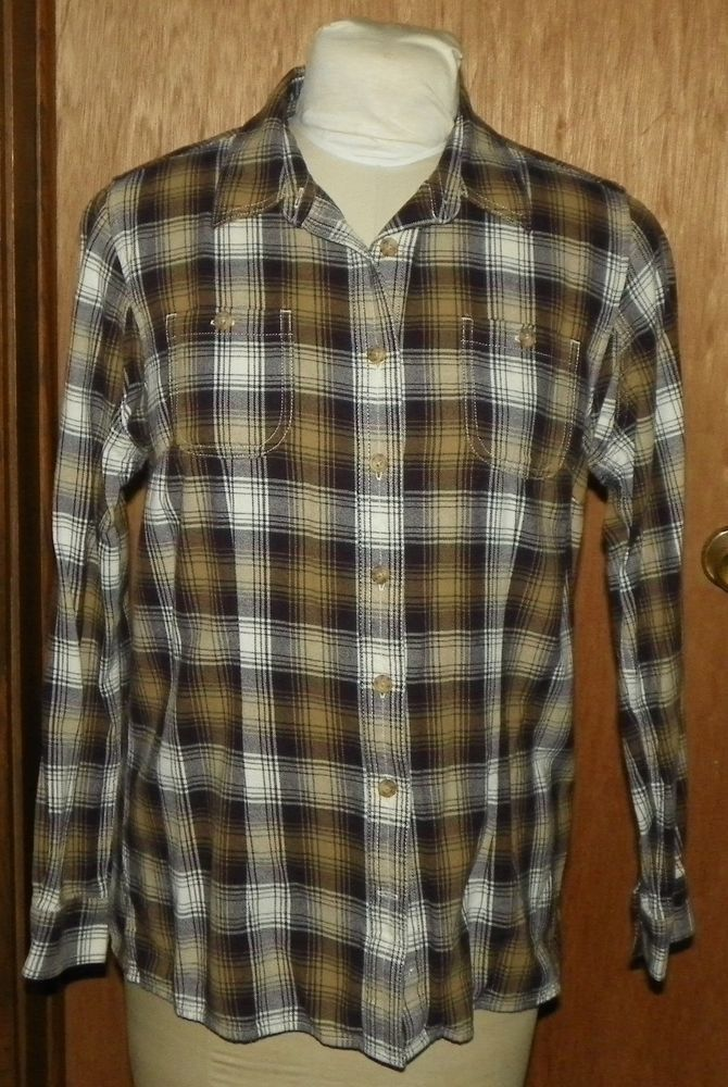 930ad1c4d2 Duluth Trading Co. Brown Plaid Button Front Shirt. Features: seven button  front closure, two front button pockets, and long sleeves. | eBay!