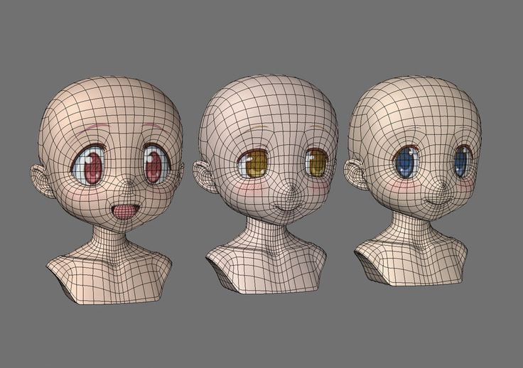 3d anime face topology texture toon
