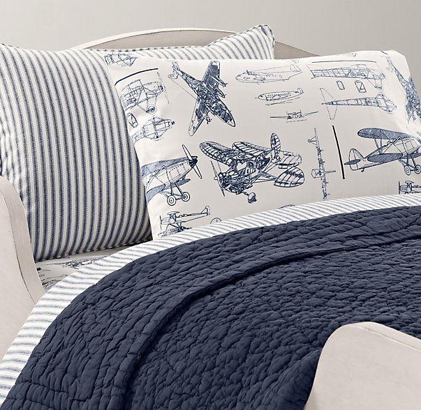 Henley Stripe & Vintage Airplane Blueprint Toddler Bedding Collection