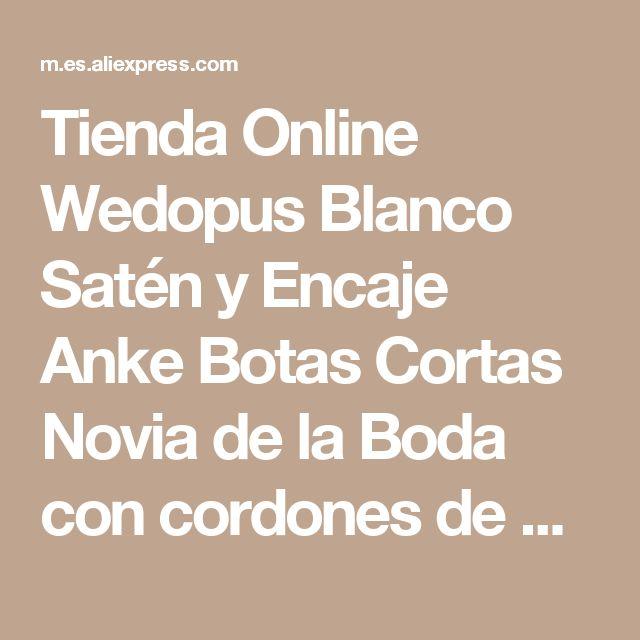 Tienda Online Wedopus Blanco Satén y Encaje Anke Botas Cortas Novia de la Boda con cordones de Tacón Bajo | Aliexpress móvil