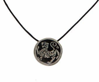 "Handmade silver necklace ""tora no maki"" 925o with handmade paper. ""Tora no maki"" is the symbol of Shotokan karate, also known as Shotokan Tiger or Tiger Roll - Χειροποίητο ασημένιο κολιέ 925ο ""tora no maki"" με χειροποίητο χαρτί"