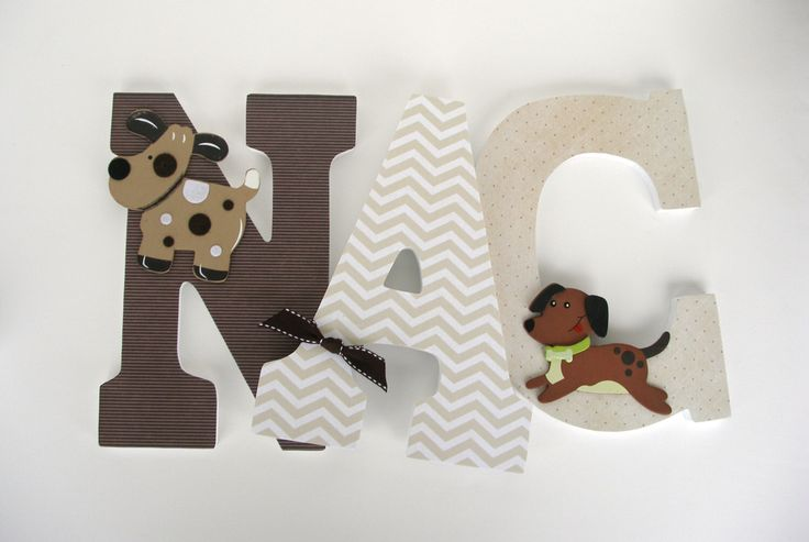 Puppy Dog Custom Decorated Wooden Letters, Personalized Nursery Name Décor, Unisex Bedroom, Hanging Wood Wall Decorations Baby Shower Gift by LetterLuxe on Etsy https://www.etsy.com/listing/174245641/puppy-dog-custom-decorated-wooden