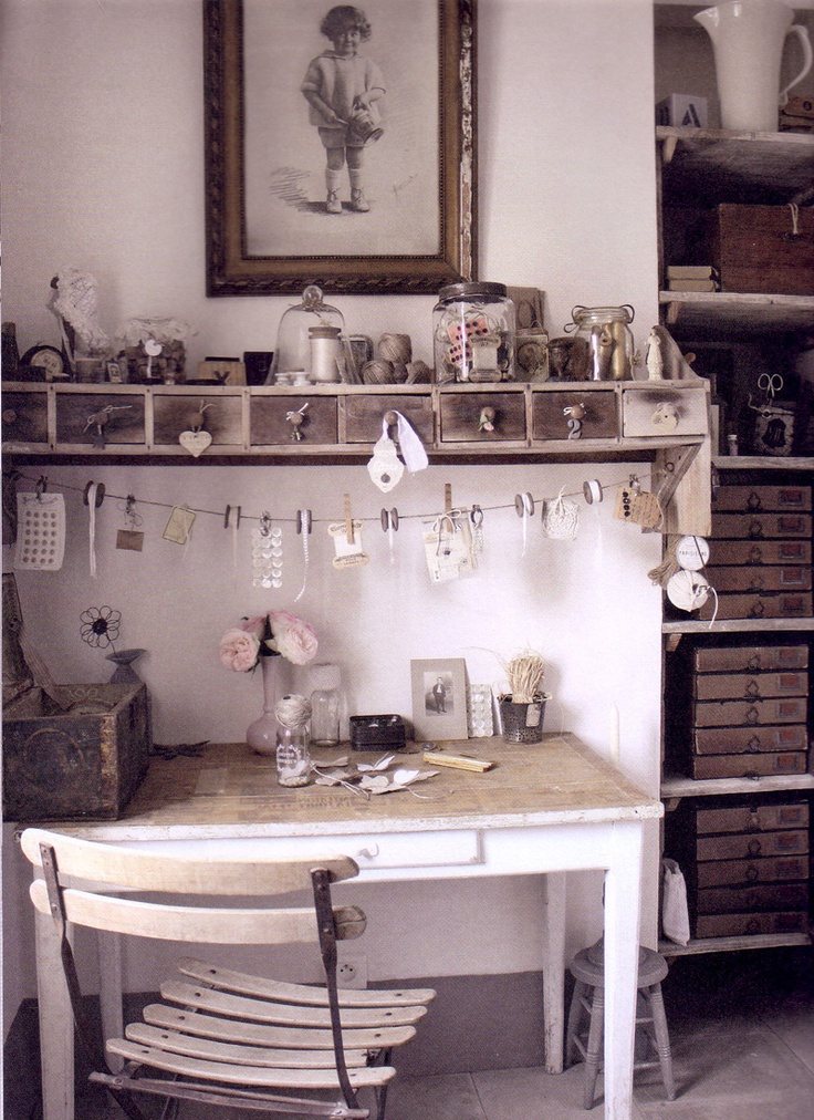 shabby chic working space (photo from the book *lev vackert* by Ingela Broling & Petra Eriksson ...