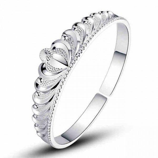 Elegant Princess Crown Silver Bangle -USD $69.95