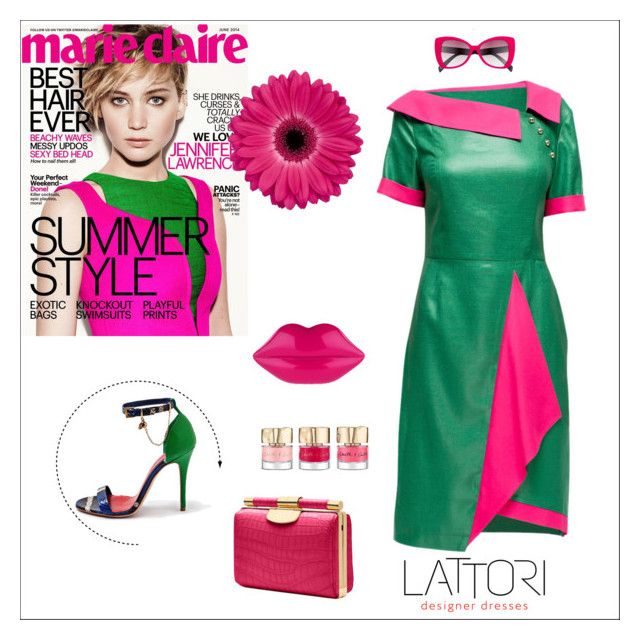 """Green and Crimson Dress"" by lattori ❤ liked on Polyvore featuring Lattori, Italia Independent, dress, dresses and lattori"