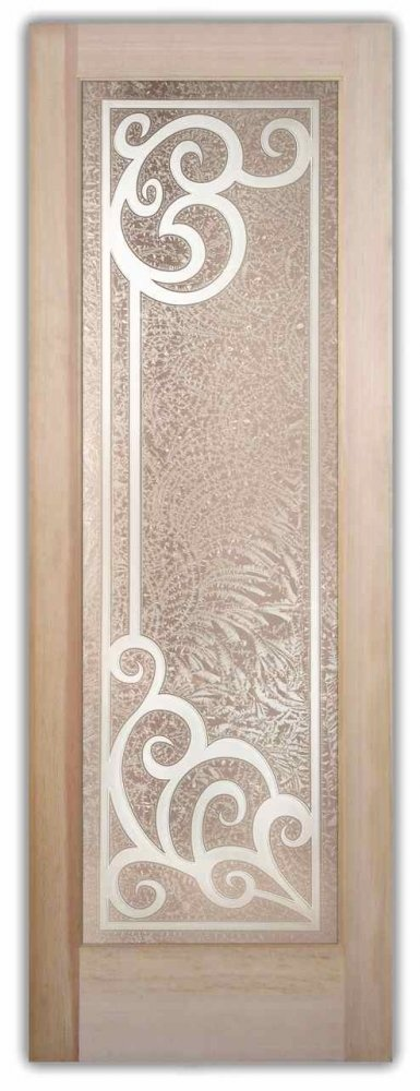 Glass Front Doors Etched Carved Wrought Iron Ironwork Glass Door
