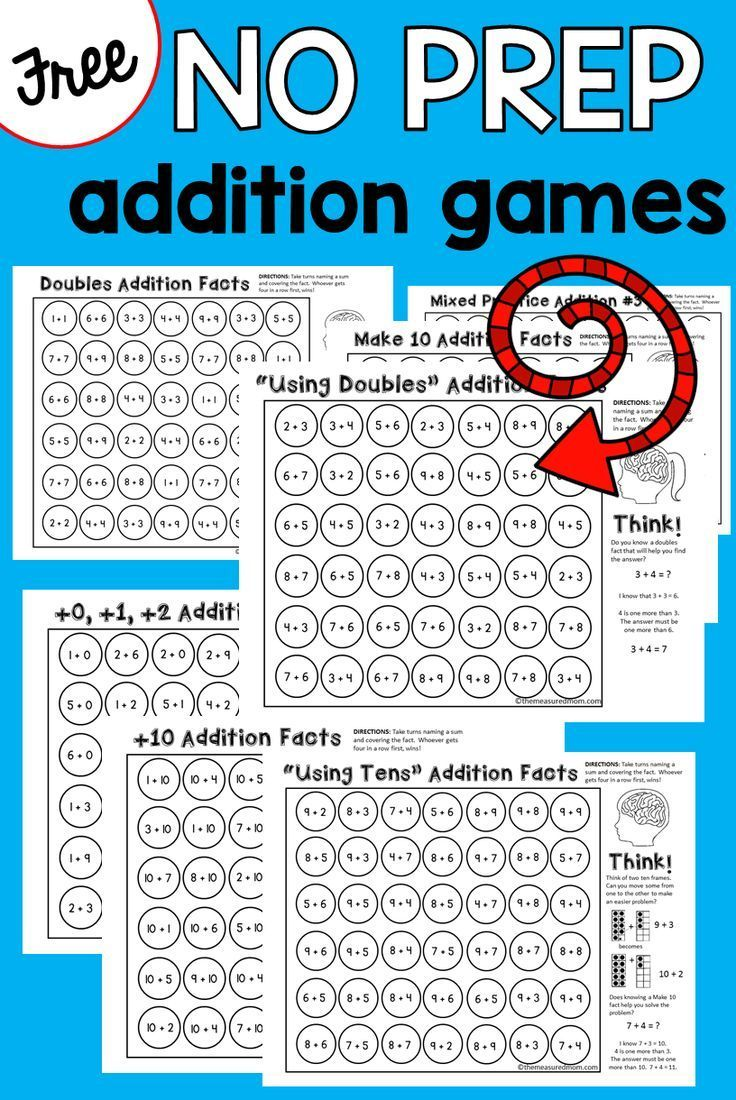 9 NO PREP addition games that teach addition strategies! Great addition activities for kindergarten and first grade!