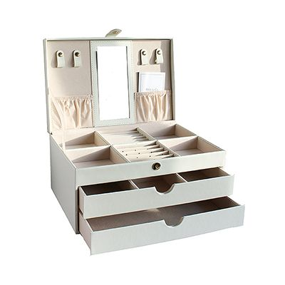 Mele & Co Ladies Cream Large Leather Jewellery Box - RRP: £120, our price: £59.99