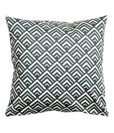 Dark gray. Cushion cover in cotton twill with a printed pattern. Concealed zip.