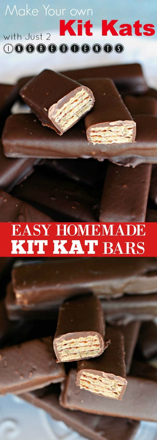 Two ingredients and about 5 minutes is all it takes to make these Easy Homemade Kit Kat Bars