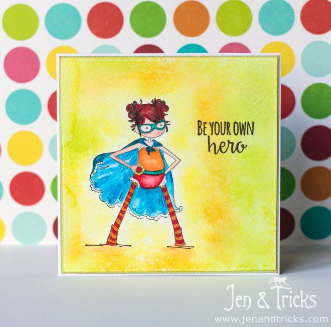 Handmade square card by jenandtricks, using superhero stamp from Stamping Bella