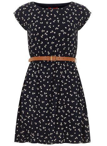 Navy anchor print dress - View All  - Dresses