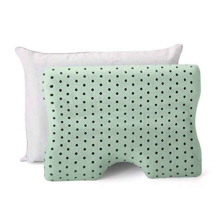 Memory Foam Contour Pillow 2pk (Standard) Green - Authentic Comfort